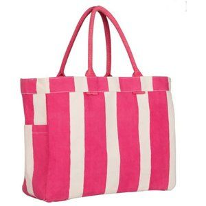🎁💕 Rock Flower Paper Cotton Pink Stripe Carryall